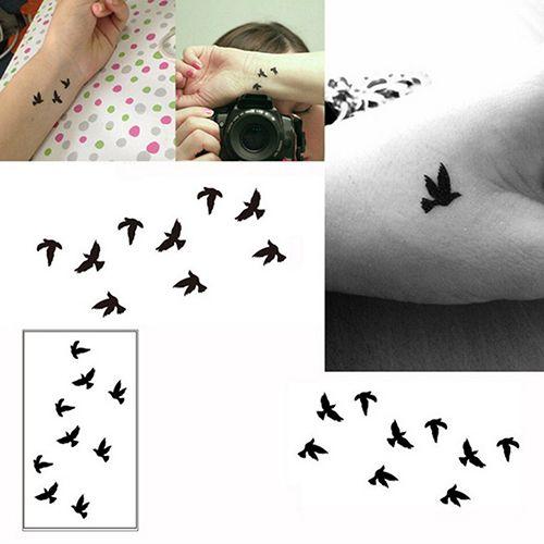 Women's Swallow Pattern Body Art Arm Wrist Leg Neck Temporary Tattoo Sticker Fast Shipping