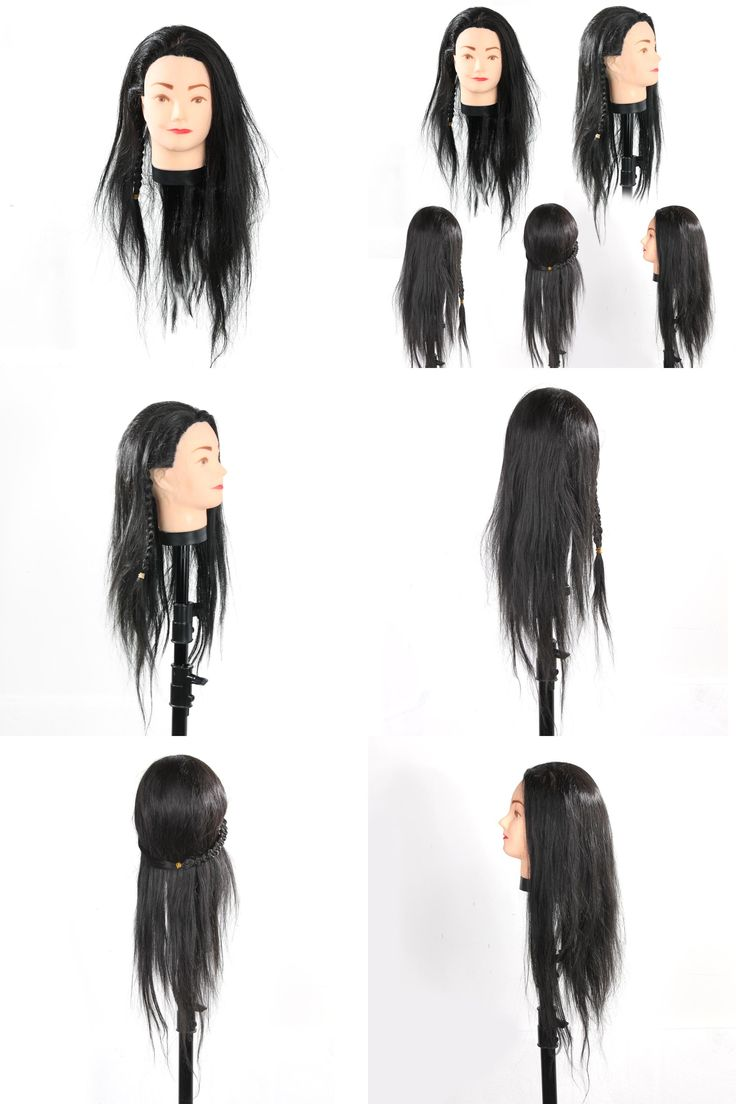 [Visit to Buy]  Professional Hairdressing Training Mannequin Practice Head 65cm Black Hair Barber Hairdressing Accessories Practive Head #Advertisement