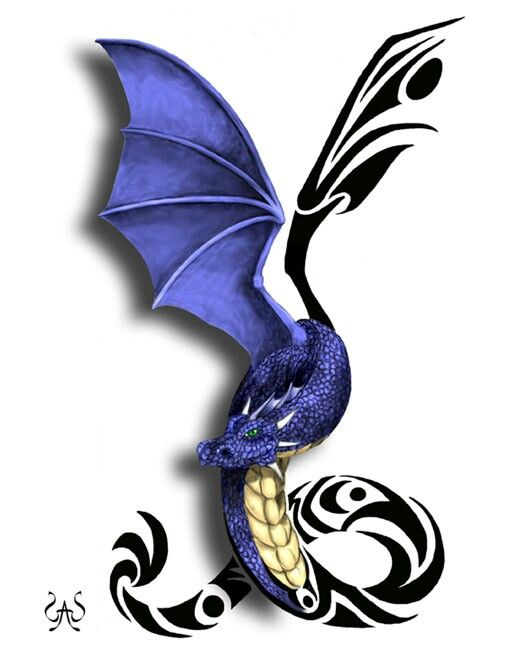 Like the tribal and 3d mix but want the wings down some  and fang showing with flower aka heart in the loops of the tail