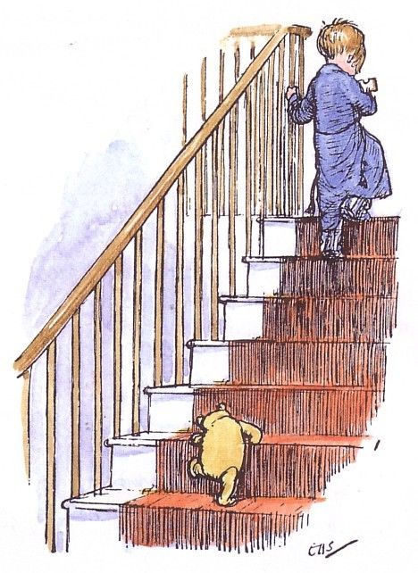 Christoper Robin went up to bed, and in a moment  I heard Winnie-the-Pooh - bump, bump, bump - going up the stairs behind him.