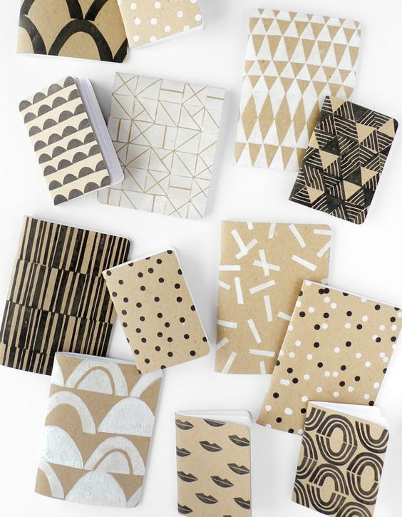 DIY Patterned Sketchbook - Print your own custom notebook with this simple tutorial from Cotton & Flax and Scout Books