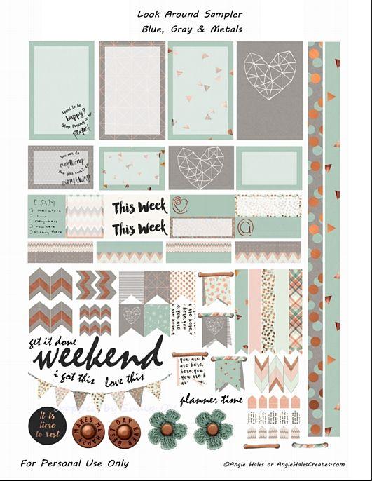 FREE Look Around Sampler Blue , Gray and Metal Planner Sticker Printables- freebie by AMHales Más