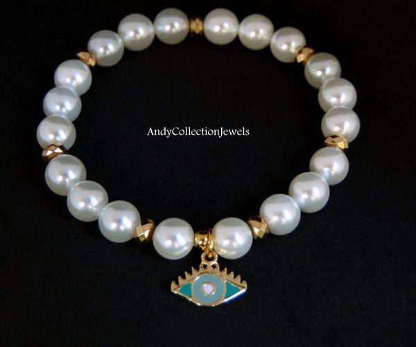 Women Charming Mother of Pearl Beaded Wristband with Gold Hematite and Evil Eye with Turquoise Enamel