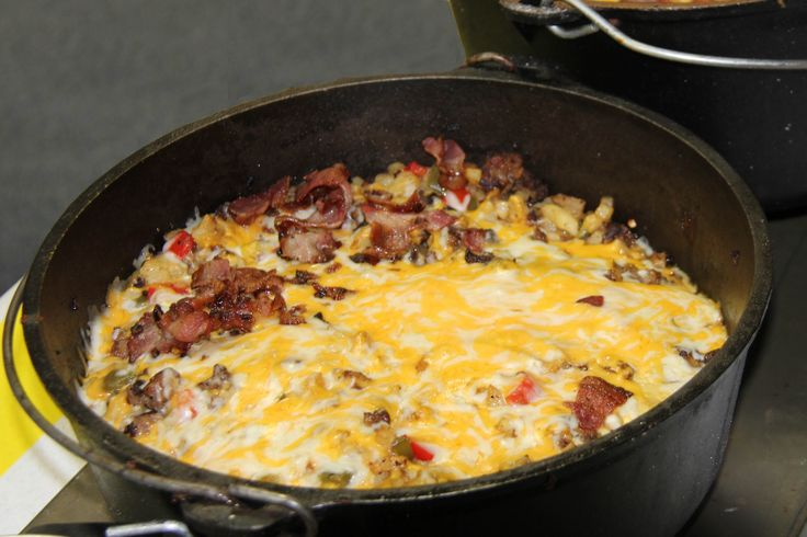 This Mountain Man Breakfast means business & can be adapted in many different ways to suit your style. This version includes 5-6 slices of chopped bacon too