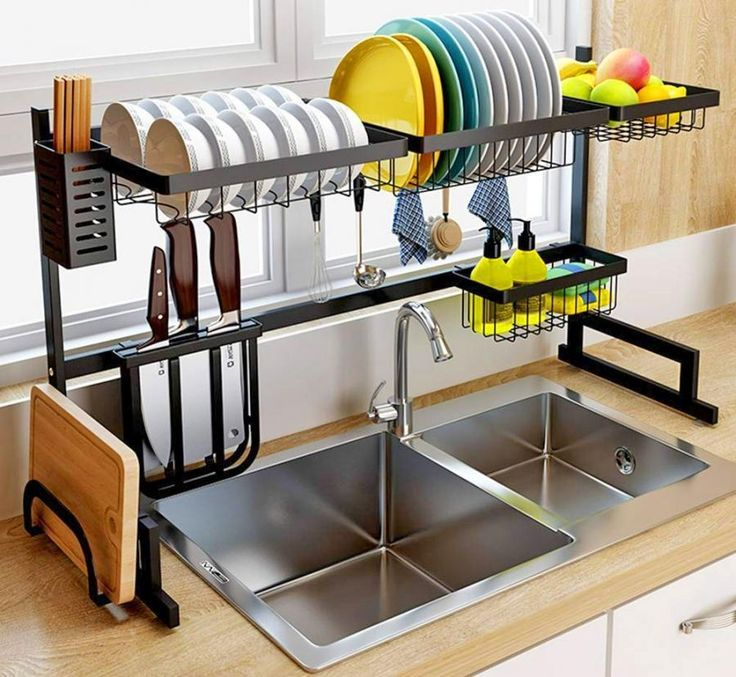 Over The Sink Dish Drying Rack And Storage Area Idee Rangement