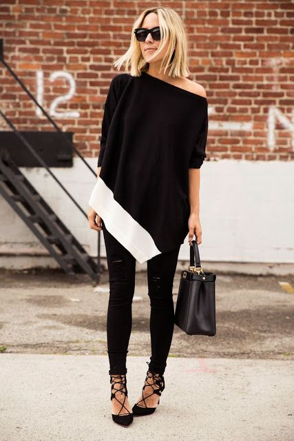 Street style | Off the shoulder sweater and strapped heels