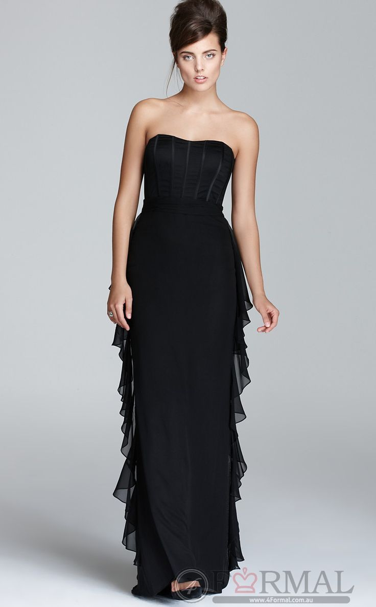 Black Strapless Long Simple Dress Formal Wear (JTAU-0152) at 4formal.com.au