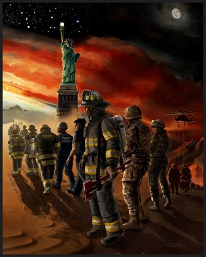 SOME GAVE ALL. Those who dedicate themselves to such professions as fire, military, rescue, police and EMS do so with the knowledge that the mission may require their last full measure of devotion, and yet they step up. These are the givers. They are the men and women whom I have depicted in my painting, and the souls to whom I dedicate Some Gave All.