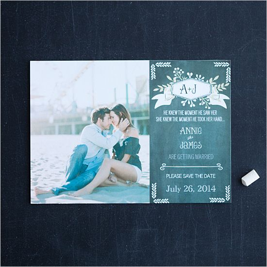 chalkboard & photo save the date
