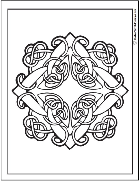 ColorWithFuzzy.com Celtic Knot Designs: Diamond Celtic Knot Coloring Pages