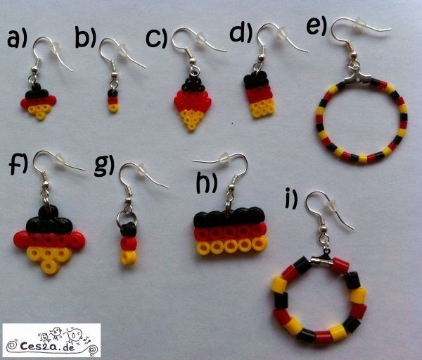 Es handelt sich um ein Paar Modeschmuck-Ohrringe in den Deutschland-Flaggen-Farben schwarz-rot-gelb aus Bügelperlen.   Die Bügelperlen wurden auf der