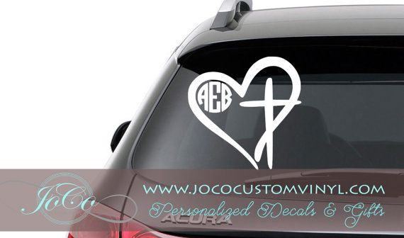 Monogram decal monogrammed heart with cross vinyl car decal lilly inspired heart camo heart with cross
