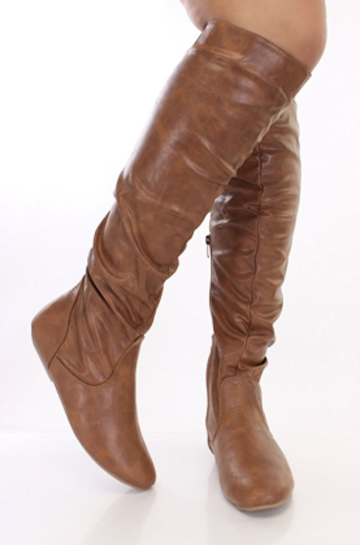 Women's Knee High Slouchy Stitched Flat Dress Boots in Brown and Tan ** Click on the image for additional details.