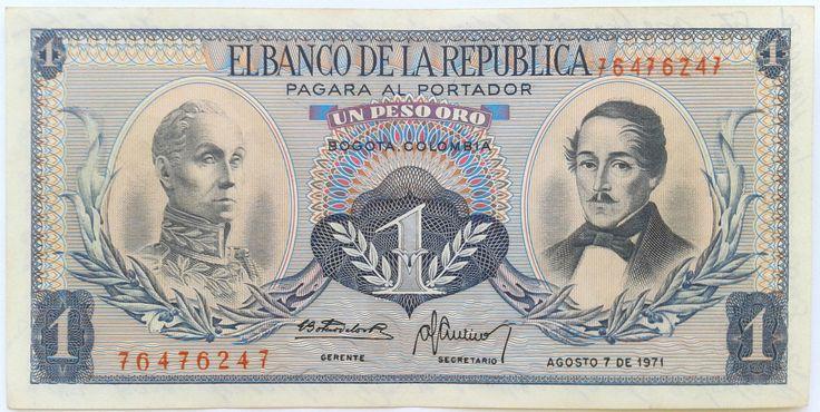 1 Peso Oro Colombia 1971 Pick 404