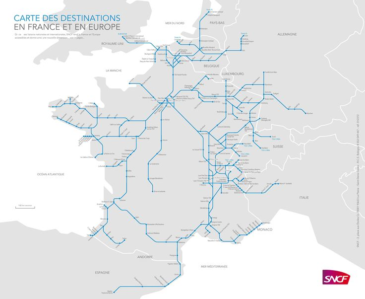 Check the TGV route map for destinations to major cities in France. The express train connects with major cities of France and other European countries.