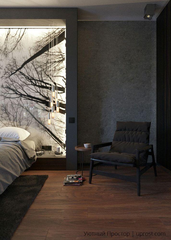 """Дизайн интерьера мужской спальни от """"Уютный Простор""""."""