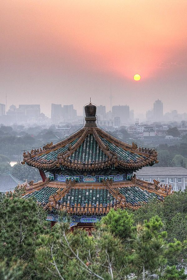 Pavilion At Sunset In Jingshan Park Canvas Print / Canvas Art by Robert Nagy…