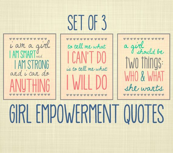 For the playroom Girl Empowerment Quote Art Set of 3 Kids Wall Art by RosyHuesArt, $35.00