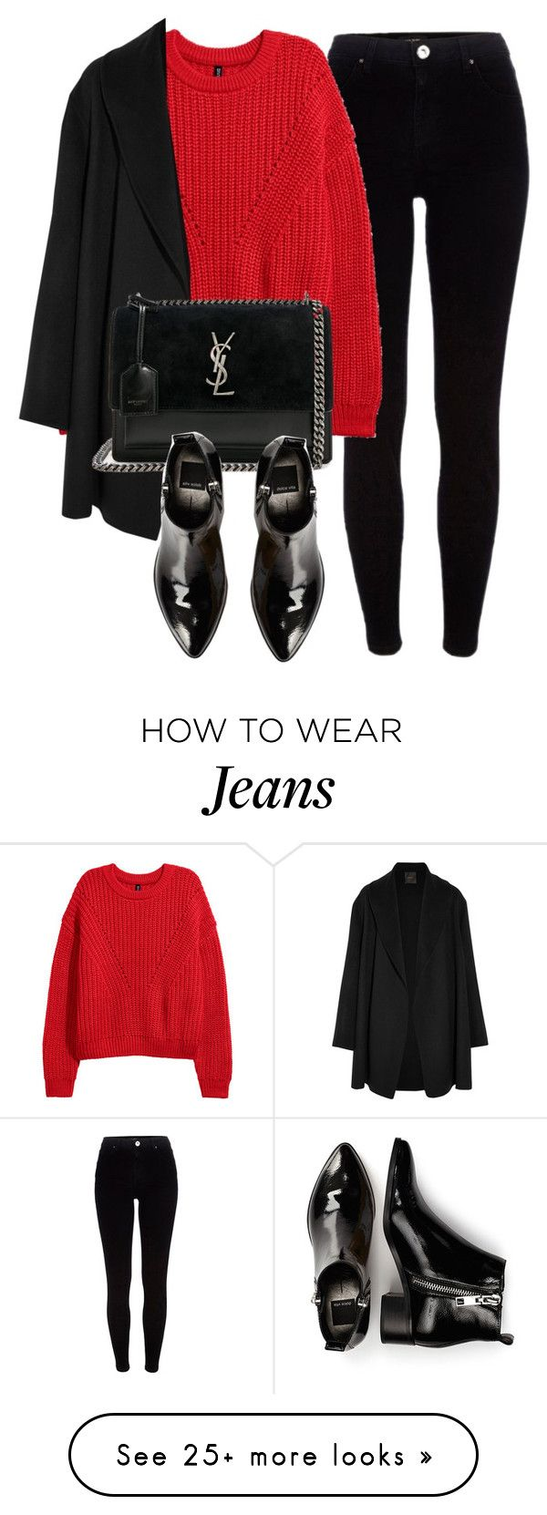 """Untitled #7162"" by laurenmboot on Polyvore featuring River Island, Agnona, Yves Saint Laurent and Dolce Vita"