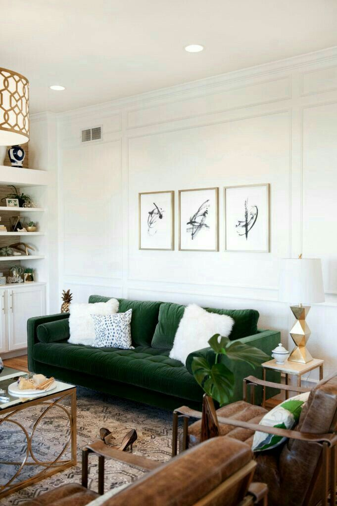 Beautiful living room with statement green couch Living room in