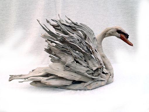 Driftwood swan sculpture by Tony Fredriksson www.openskywoodart.com