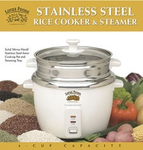 "Special Use Discount Code: use ""BIONEERS"" for 10% off Oct. 1 - Nov. 15, 2012.    Includes 1 Stainless Steel Rice Cooker plus Organic Volcano Rice, Organic Brown Mekong Flower Rice, and Organic Madagascar Pink Rice    Not all rice cookers are created equal. Although they may look similar, the Lotus Foods Rice Cooker and Vegetable Steamer has an inner cooking pot and steaming tray that are constructed completely of mirror finish stainless steel."