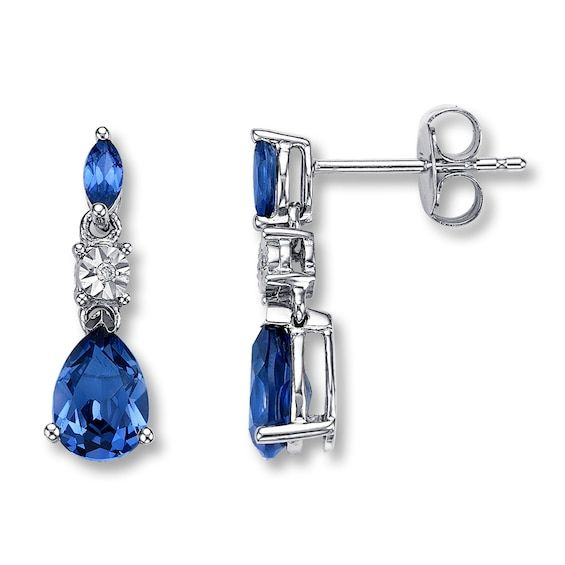 Lab Created Sapphire Earrings Diamond Accent 10k White Gold Sapphire Earrings White Gold Jewelry