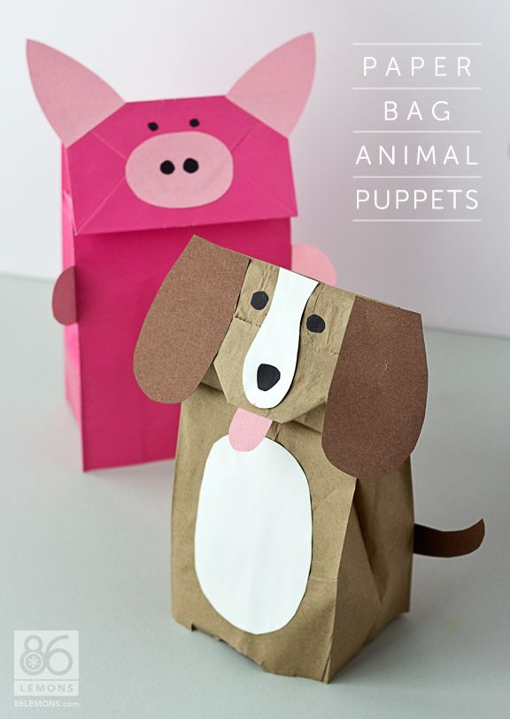 Paper Bag Animal Puppets Tutorial  86lemons.com