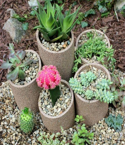 Artesanato Jardim Da Estrela ~ VillarteDesign Artesanato Mini jardim de suculentas com tubos de pvc Proyectos que intentar