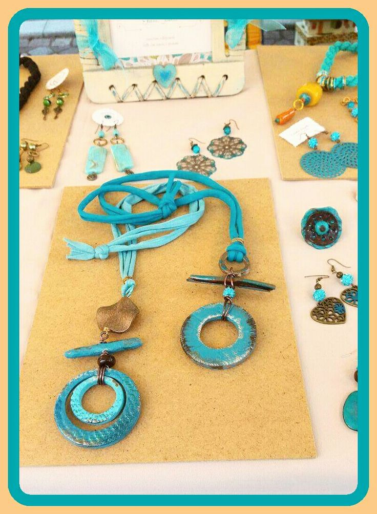 Clay handmade pendant necklace - turquoise a and bronze