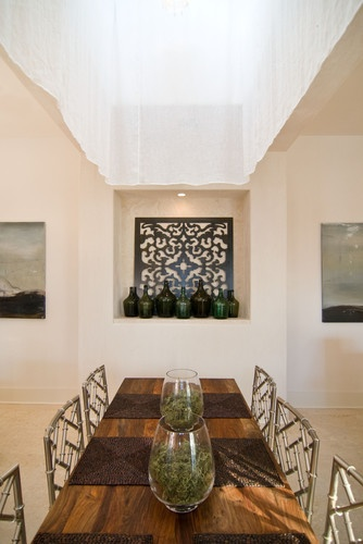 Attractive Laser Cut Rug Decorating Ideas In Dining Room Eclectic Design With Bamboo Chairs Glass Bottles Hollywood Regency