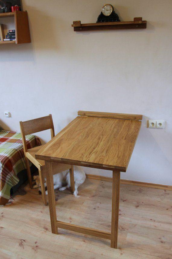 Drop Down Desk Wall Mounted Folding Table In Solid Oak Murphy