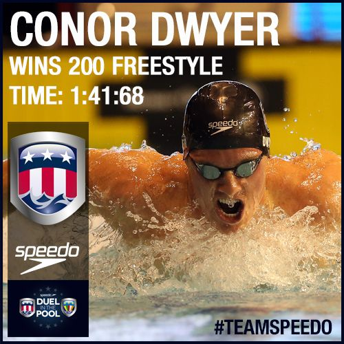 Conor Dwyer wins the 200m Freestyle race at Duel in the Pool 2013 #Duel2013