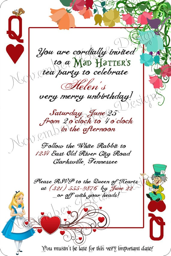 Classic Disney Alice in Wonderland Playing Card Birthday Invitation by NovemberBlueDesigns, $15.00