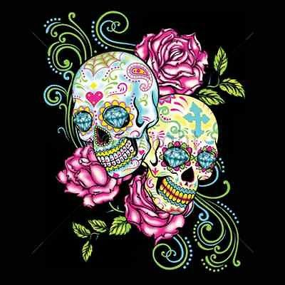 Two Sugar Skull and Roses Day of the Dead Womans Short Sleeve T Shirt 17034