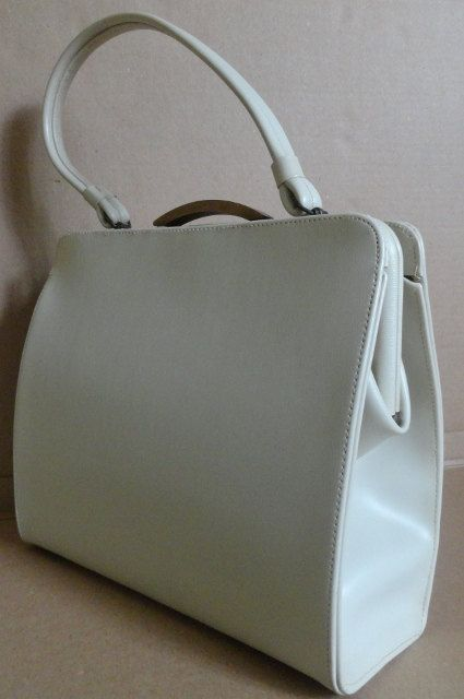 Extra Large Vintage Handbag/Ivory Leather/Hermes Grace Kelly Style/Purse.