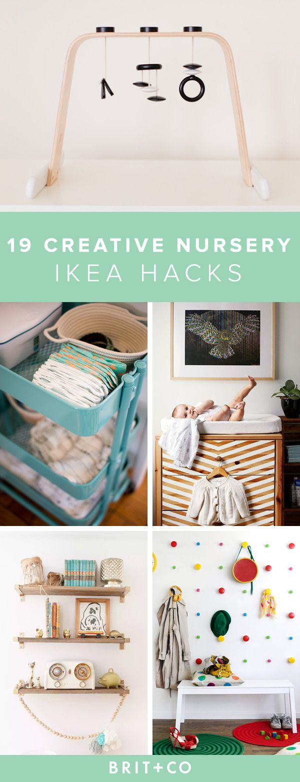 You can decorate your nursery in the most creative way with these IKEA hacks. IKEA is affordable, and their furniture and supplies give you a whole world of options for your baby's room. Learn how to convert an IKEA dresser into a chic changing table, organize your changing space with an IKEA bar cart, and turn a comfy chair into a rocker.