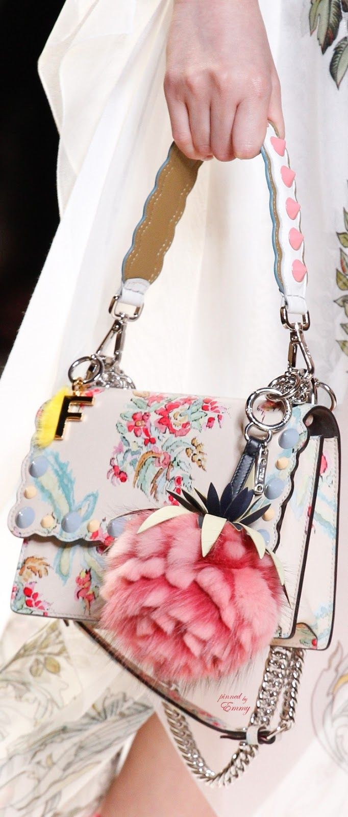 Brilliant Luxury♦Fendi Candy Colours Spring 2017♦Fendi Kan I Mini Aubusson-Print Chain Shoulder Bag