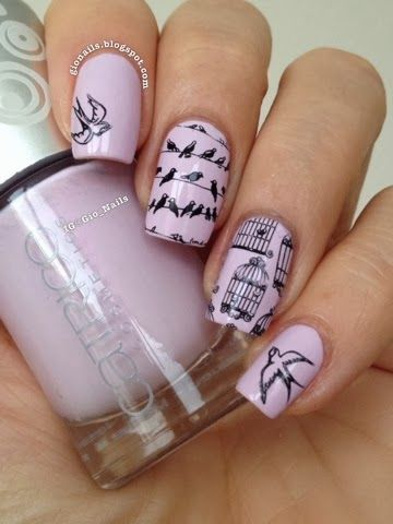 GioNails: Review Messy Mansion Stamping Plates MM14 with Catrice 'I Scream: Ice Cream' and Konad Black stamping polish