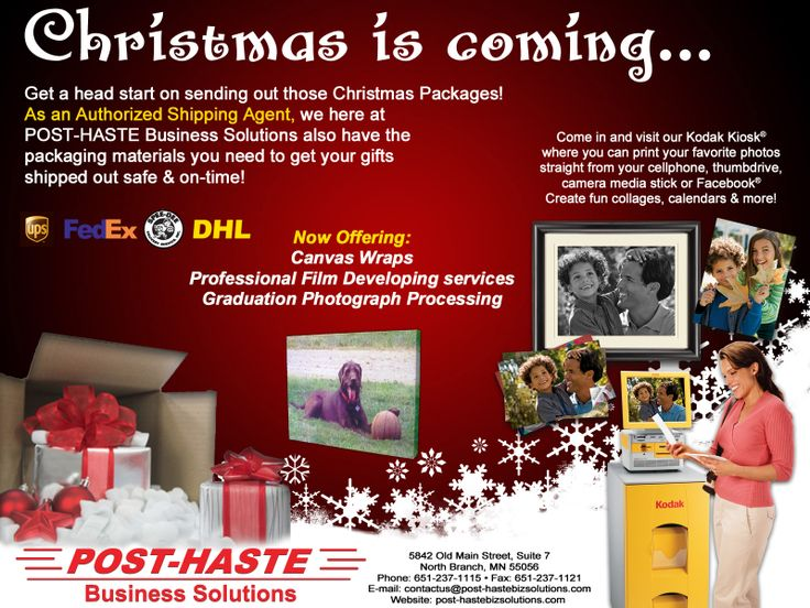 Let POST-HASTE Business Solutions help you with all your Christmas Shipping & Packaging needs! We also can provide you with custom greeting cards, professional photography services, Kodak Kiosk, & more.