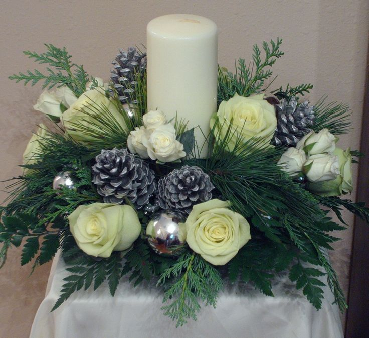 Simply Elegant Holiday Centerpieces in white and silver