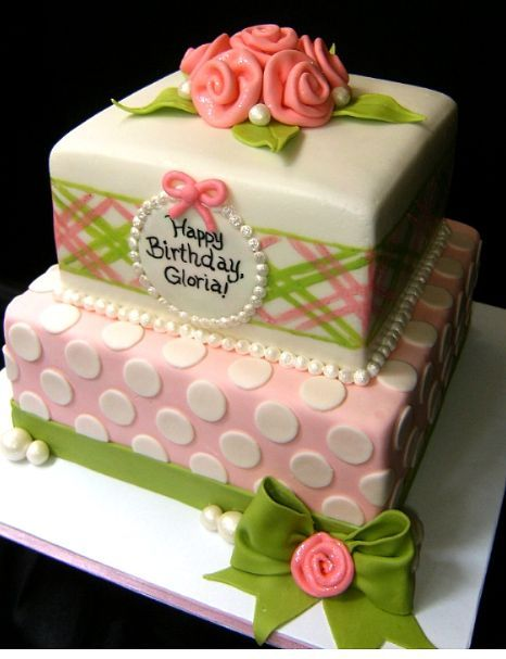Birthday and Party Cakes: Pink and Green Birthday Cake