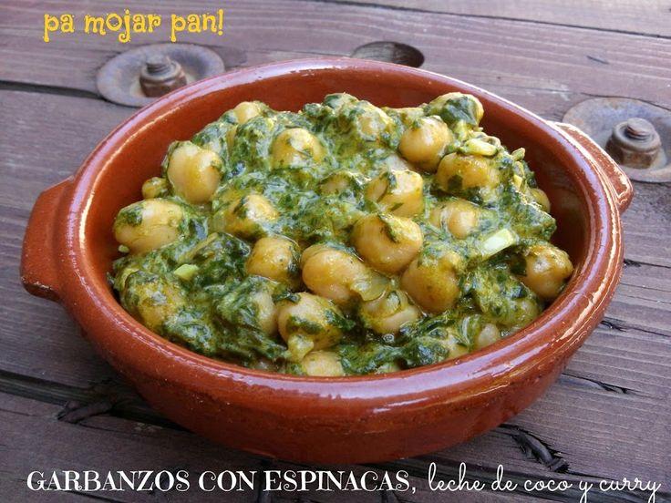 Garbanzos con espinacas, leche de coco y curry | Cocina