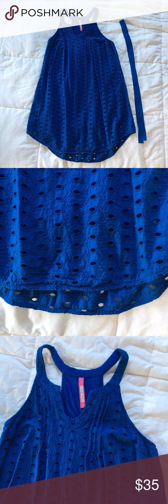 SALE❗️Plenty By Tracy Reese Blue Crochet Sundress Bright true blue Sundress with allover Crochet holes and zig zag pattern. Dress is fully lined so you cannot see through holes. Has racerback style back with vertical pleating at neck. Front has small 'v' opening in front. Comes with grosgrain ribbon belt but can be worn with or without. Plenty by Tracy Reese Dresses