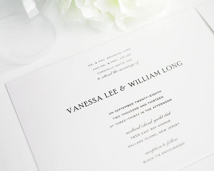 Elegant Wedding Invitation   Black, White, Silver   Simple Elegance Sample  Set. $6.50