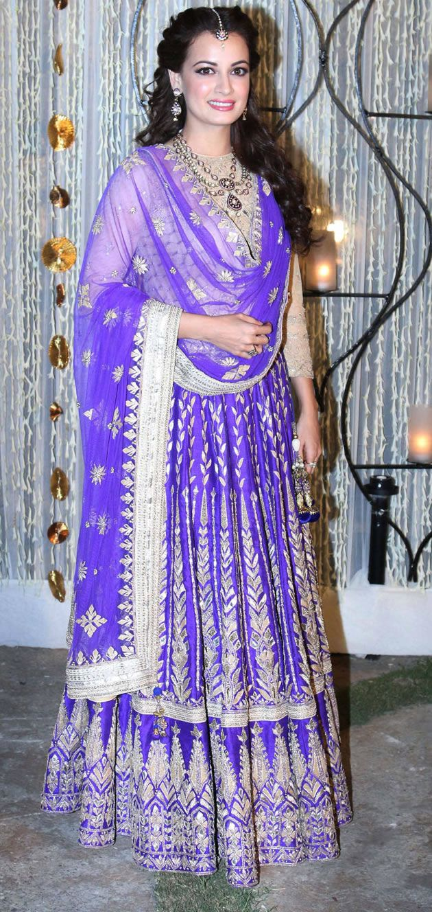 Dia Mizra in Anita Dongre lengha for her sangeet