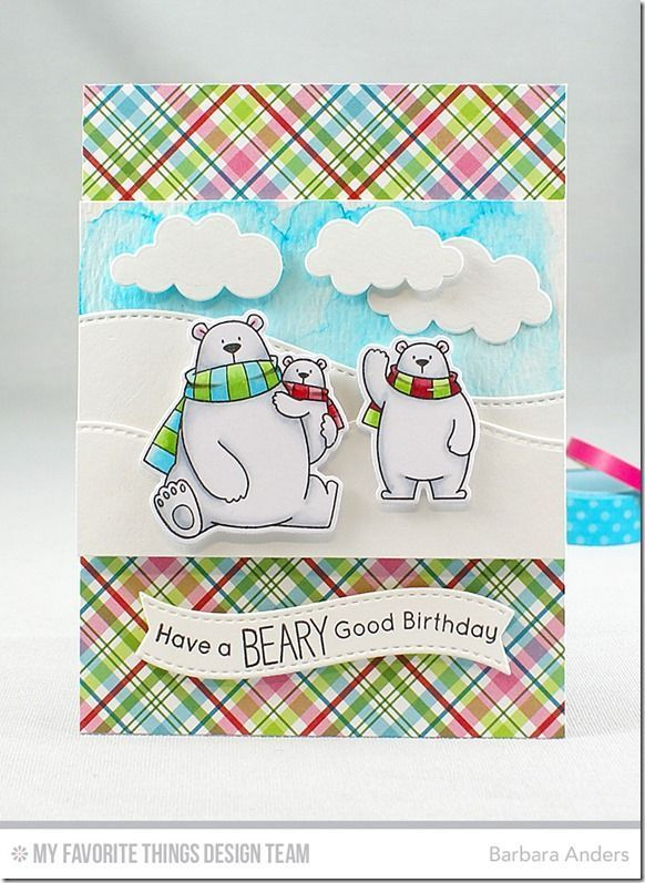 Polar bear pals and Merry & Bright Paper Pack. I started with a Sweet Tooth cs base and added some patterned paper to the top and bottom. I did a watercolor wash sky using Ranger Watercolor Paper and Peerless Watercolors, added Stitched Snow Drifts Die and Puffy Clouds.I stamped the images with Black Licorice hybrid ink on X-Press It Blending card, colored with Copics, and popped them up on foam mounting tape. The sentiment was stamped on a banner from Blueprints 25 Die-namics.