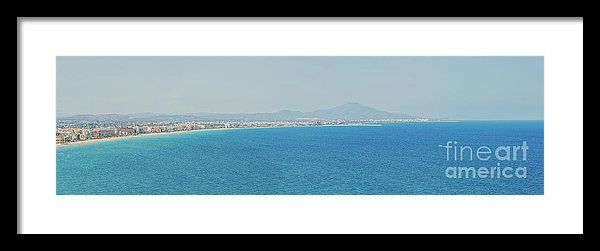 Aerial Panoramic View Of Peniscola City In Spain Framed Print