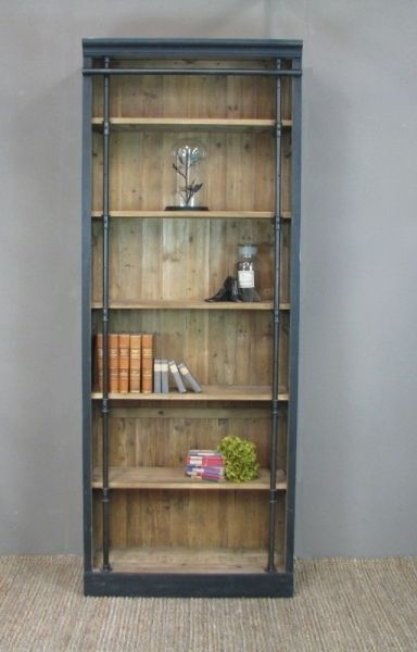 The Lyon Bookcase is a classic piece made from recycled timber in a matt black distressed finish and has 5 fixed shelves. Because the timber has had a previous life, each Lyon Bookcase is unique.
