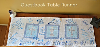 Come Together Kids: First Communion Party Ideas - DIY guestbook table runner #firstcommunion #religiousevents